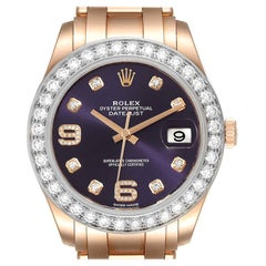 Rolex Pearlmaster 39 18k Rose Gold Diamond Mens Watch 86285 Box Card