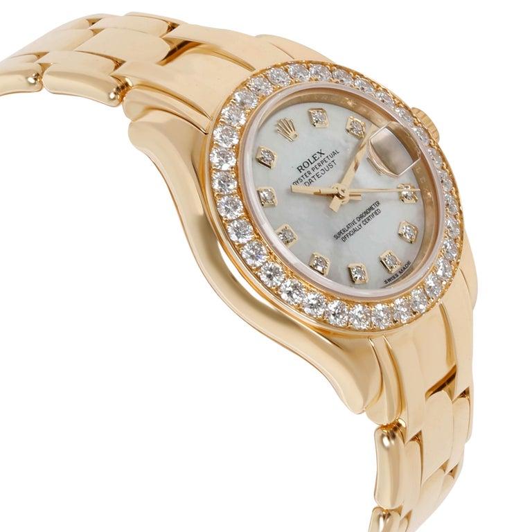 Round Cut Rolex Pearlmaster 80298 Women's Diamond Watch in 18 Karat Yellow Gold For Sale