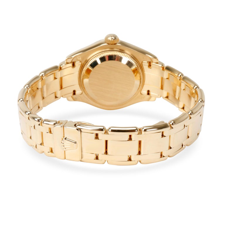 Rolex Pearlmaster 80298 Women's Diamond Watch in 18 Karat Yellow Gold In Excellent Condition For Sale In New York, NY