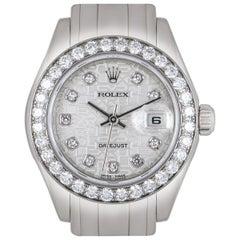 Rolex Pearlmaster Datejust Ladies 18 Karat Gold Silver Jubilee Diamond Dial B&P