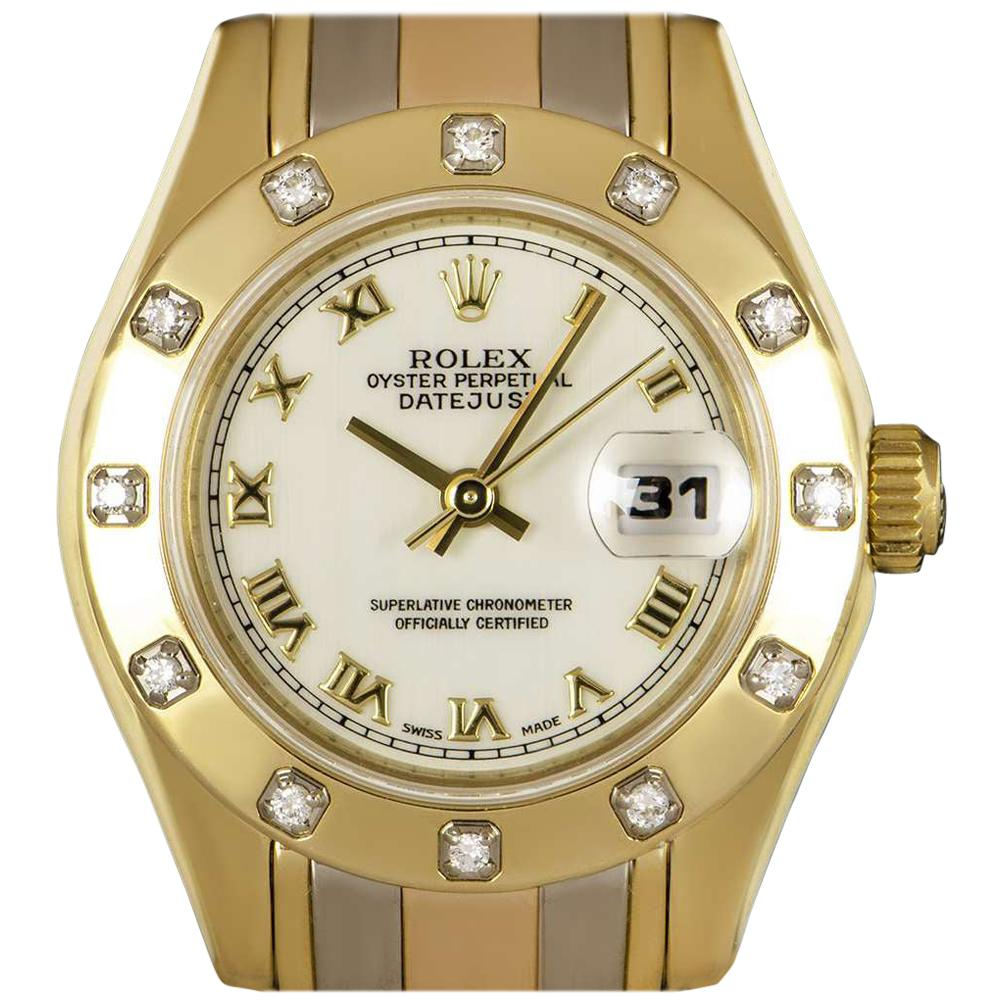 Rolex Pearlmaster Datejust Tridor Gold White Dial Diamond 69318 Automatic Watch