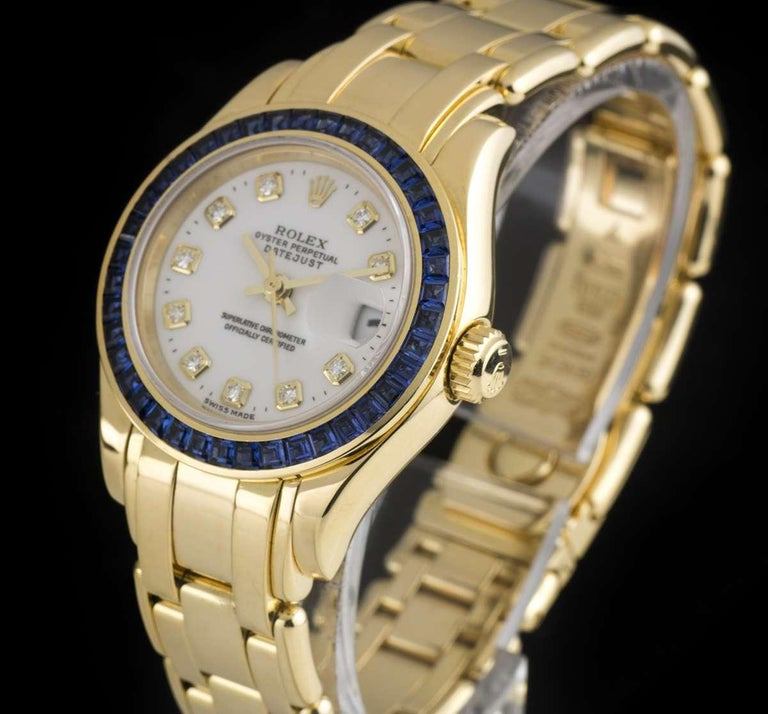 Rolex Pearlmaster Datejust Yellow Gold Diamond Dial Sapphire Bezel 69308 In Excellent Condition For Sale In London, GB