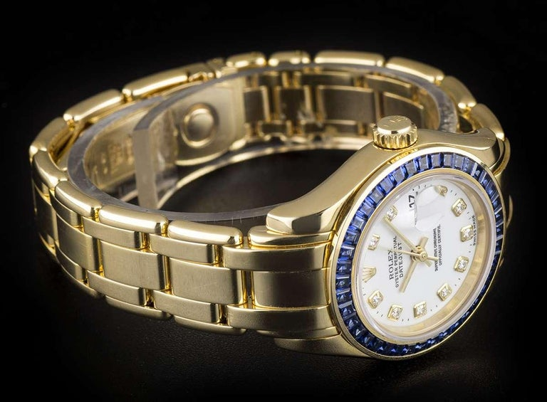 Women's Rolex Pearlmaster Datejust Yellow Gold Diamond Dial Sapphire Bezel 69308 For Sale