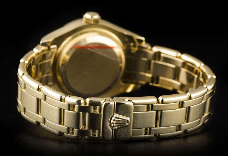 Rolex Pearlmaster Datejust Yellow Gold Diamond Dial Sapphire Bezel 69308 For Sale 1