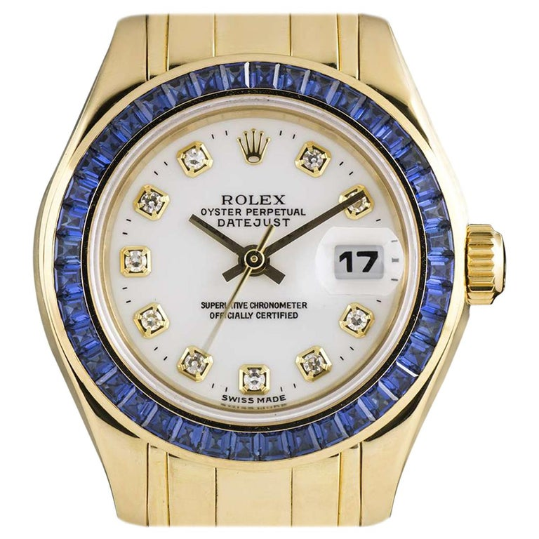 Rolex Pearlmaster Datejust Yellow Gold Diamond Dial Sapphire Bezel 69308 For Sale