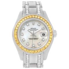 Rolex Pearlmaster Masterpiece White Gold Diamond Sapphire Watch 69309