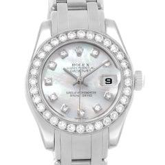 Rolex Pearlmaster Masterpiece White Gold MOP Diamond Ladies Watch 80299