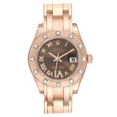Rolex Pearlmaster Rose Gold Diamond Ladies Watch 80315 Unworn