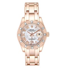 Rolex Pearlmaster Rose Gold Mother of Pearl Diamond Ladies Watch 80315 Box