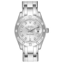 Rolex Pearlmaster White Gold Silver Dial Diamond Ladies Watch 80319
