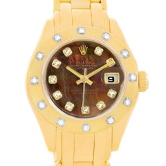 Rolex Pearlmaster Yellow Gold Black MOP Diamond Ladies Watch 69318