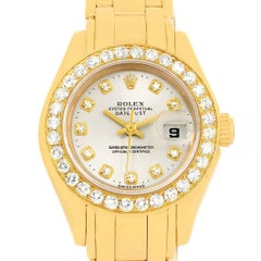 Rolex Pearlmaster Yellow Gold Diamond Dial Bezel Ladies Watch 69298