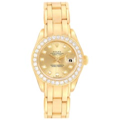 Rolex Pearlmaster Yellow Gold Diamond Ladies Watch 69298