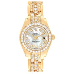 Rolex Pearlmaster Yellow Gold Triple Row Diamond Bracelet Watch 69298 Official