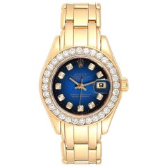 Rolex Pearlmaster Yellow Gold Vignette Diamond Dial Ladies Watch 69298