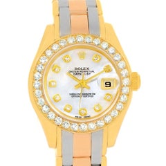 Rolex Pearlmaster Yellow White Rose Gold Tridor MOP Diamond Watch 69298
