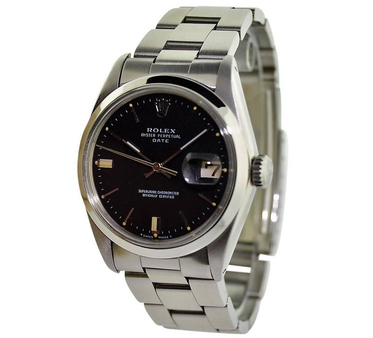 Women's or Men's Rolex Perpetual Date with Original Black Dial from 1968 or 1969 For Sale