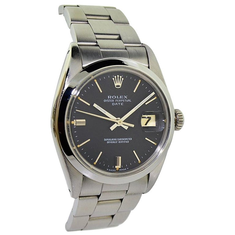 Rolex Perpetual Date with Original Black Dial from 1968 or 1969 For Sale