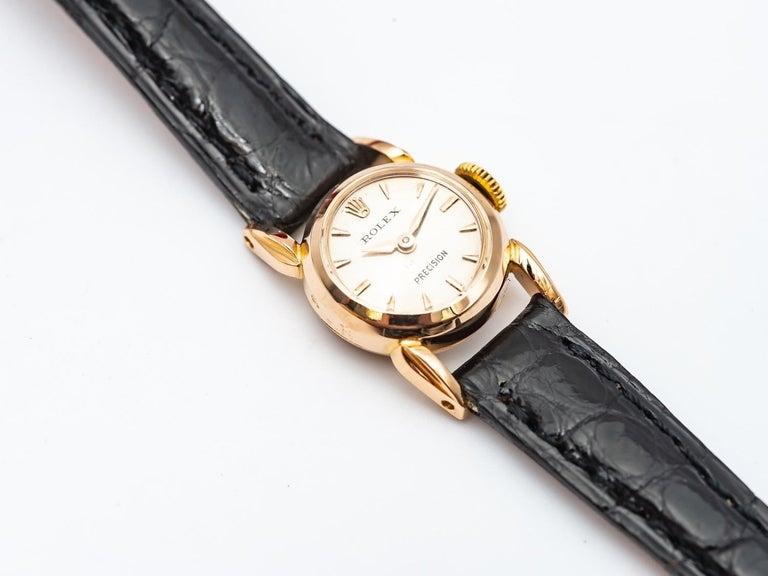 Women's Rolex Precision 18k Gold Watch for Ladies, 1950's