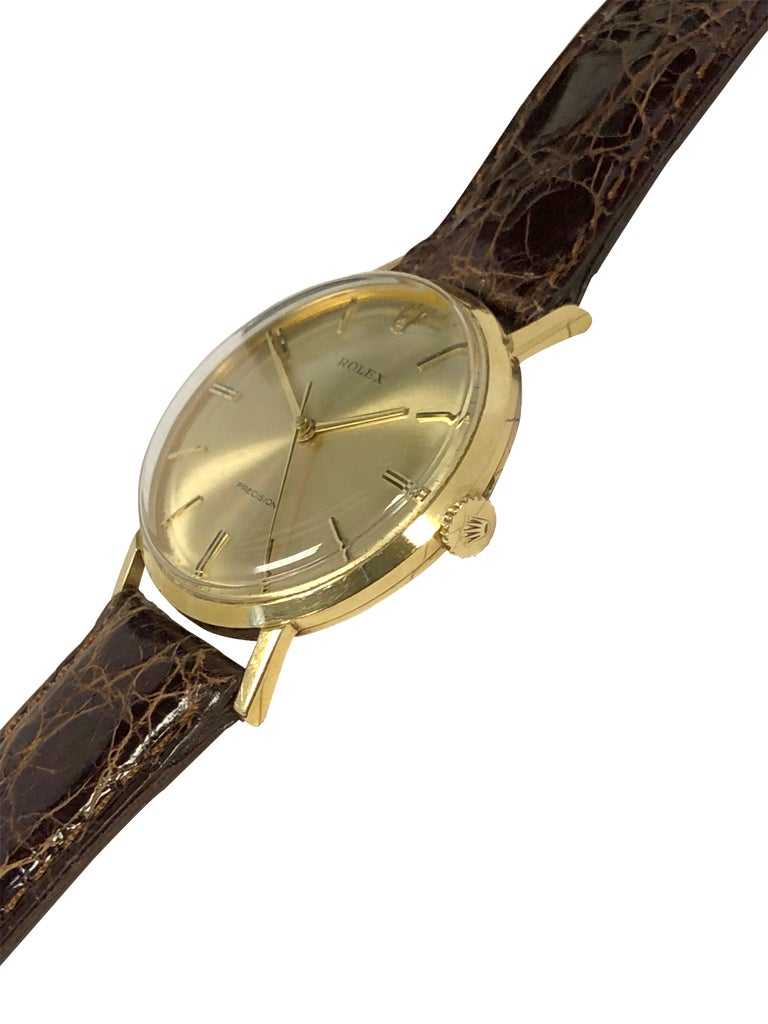 Rolex Precision 1950 Yellow Gold Mechanical wind Wristwatch In Excellent Condition For Sale In Chicago, IL
