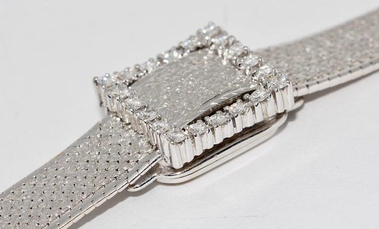 Rolex Precision Ladies Wristwatch, 18 Karat White Gold, with Diamonds For Sale 5
