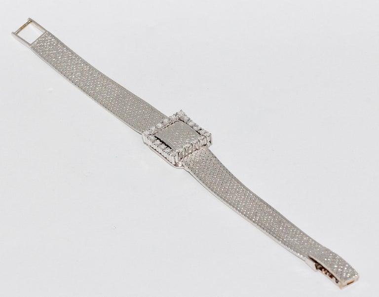 Round Cut Rolex Precision Ladies Wristwatch, 18 Karat White Gold, with Diamonds For Sale
