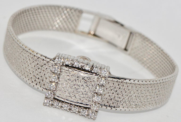 Rolex Precision Ladies Wristwatch, 18 Karat White Gold, with Diamonds In Good Condition For Sale In Berlin, DE