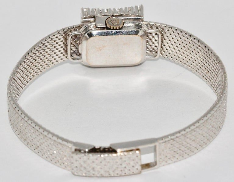 Rolex Precision Ladies Wristwatch, 18 Karat White Gold, with Diamonds For Sale 2