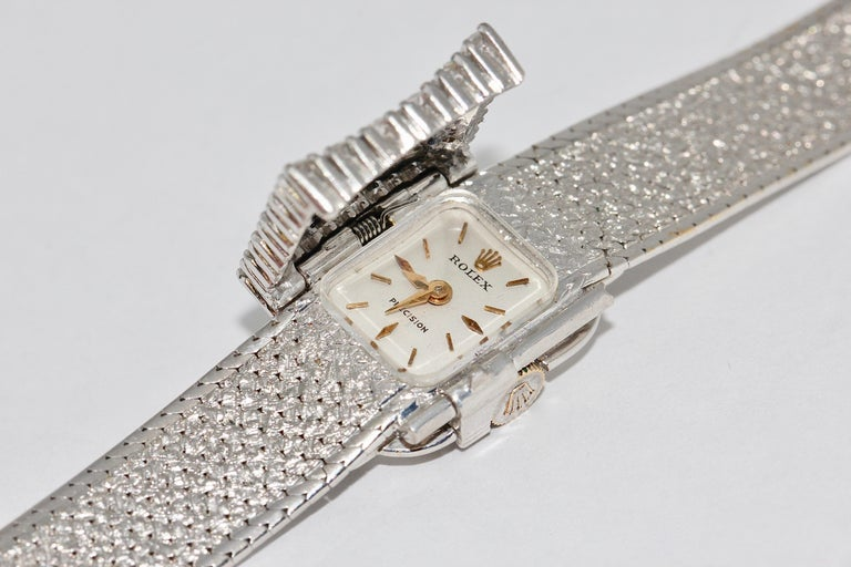 Rolex Precision Ladies Wristwatch, 18 Karat White Gold, with Diamonds For Sale 4