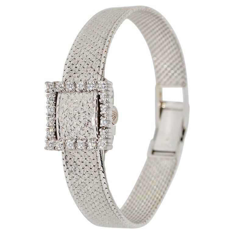 Rolex Precision Ladies Wristwatch, 18 Karat White Gold, with Diamonds For Sale