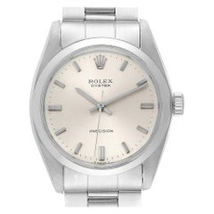 Rolex Precision Vintage Stainless Steel Silver Dial Men's Watch 6426
