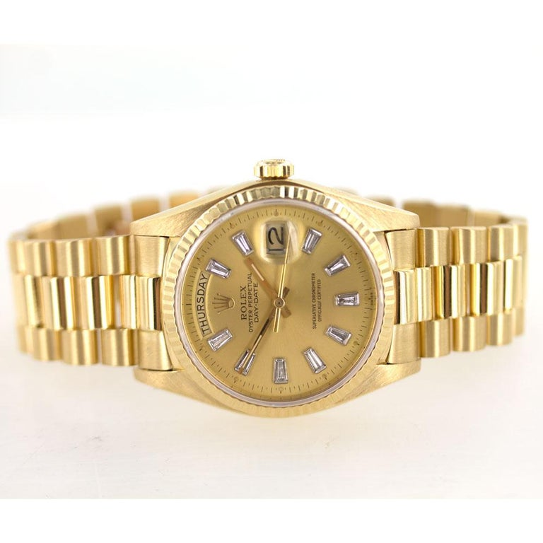 rolex president 18 karat yellow gold diamond dial watch. Black Bedroom Furniture Sets. Home Design Ideas