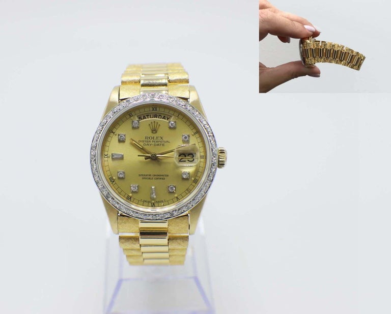 rolex president 18038 18 karat gold bark champagne diamond. Black Bedroom Furniture Sets. Home Design Ideas