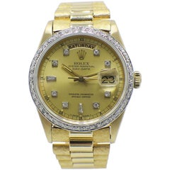 Rolex President 18038 18 Karat Gold Bark Champagne Diamond Dial and Bezel