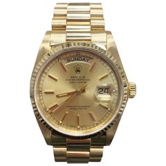 Rolex President 18038 18 Karat Yellow Gold Champagne Dial Box and Papers