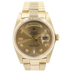 Rolex President 18038 18 Karat Yellow Gold Champagne Diamond Dial