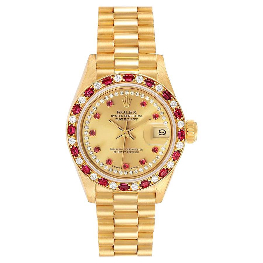 Rolex President 18k Yellow Gold Diamond Ruby Ladies Watch 69188 Box Papers