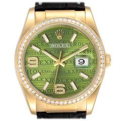 Rolex President 18k Yellow Gold Green Wave Dial Diamond Men's Watch 116188