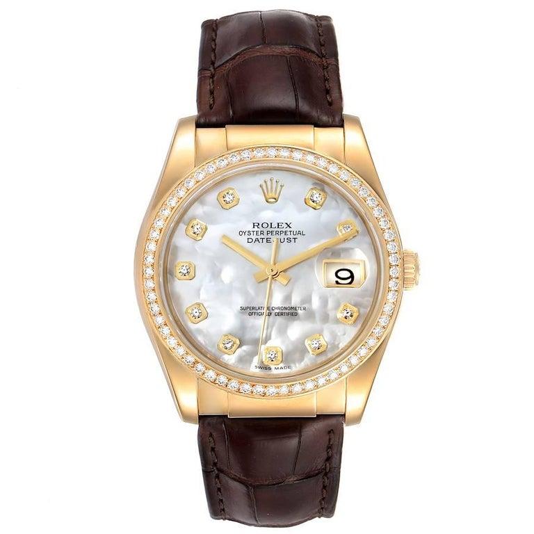 Rolex President 18k Yellow Gold MOP Diamond Dial Mens Watch 116188. Officially certified chronometer self-winding movement. 18k yellow gold oyster case 36.0 mm in diameter. Rolex logo on the crown. Original Rolex factory diamond bezel. Scratch