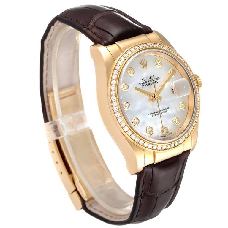 Rolex President 18k Yellow Gold MOP Diamond Dial Mens Watch 116188 In Excellent Condition For Sale In Atlanta, GA