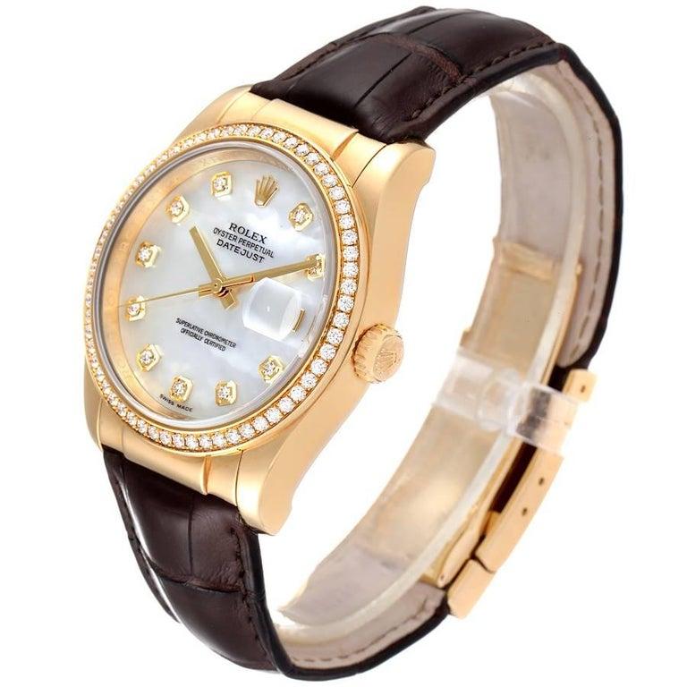 Men's Rolex President 18k Yellow Gold MOP Diamond Dial Mens Watch 116188 For Sale