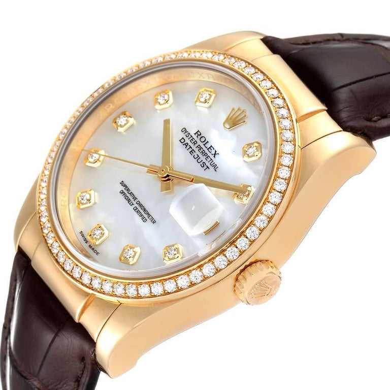Rolex President 18k Yellow Gold MOP Diamond Dial Mens Watch 116188 For Sale 2