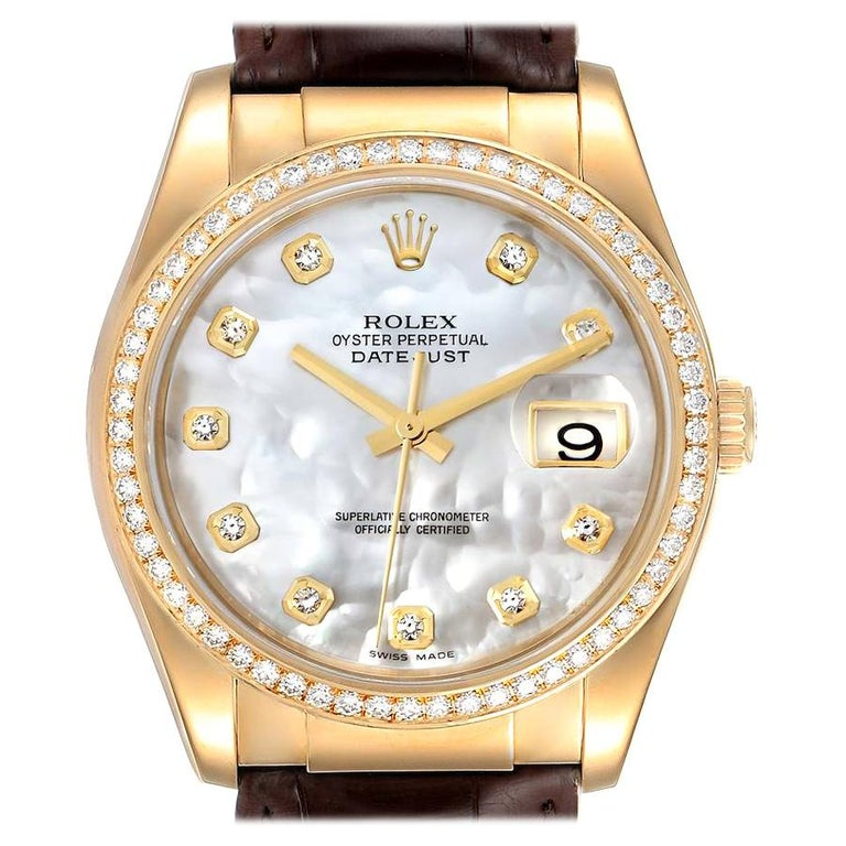 Rolex President 18k Yellow Gold MOP Diamond Dial Mens Watch 116188 For Sale