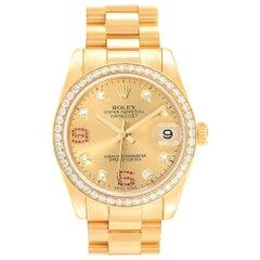Rolex President 31 Midsize Yellow Gold Diamond Ruby Ladies Watch 178288