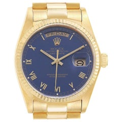 Rolex President 36 Day-Date Yellow Gold Blue Dial Men's Watch 18038