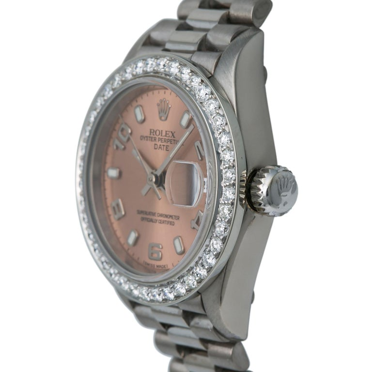 Contemporary Rolex President 69179 Automatic 18k Solid White Gold Watch Diamond Bezel For Sale