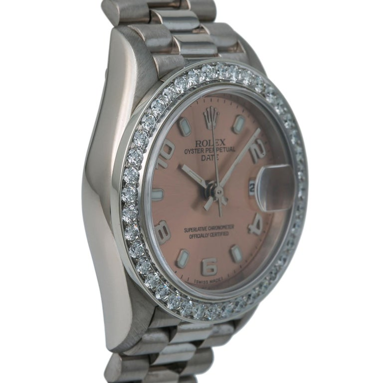 Rolex President 69179 Automatic 18k Solid White Gold Watch Diamond Bezel In Good Condition For Sale In Miami, FL