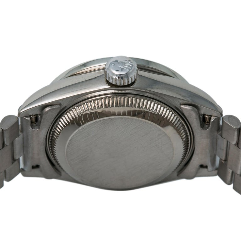 Women's Rolex President 69179 Automatic 18k Solid White Gold Watch Diamond Bezel For Sale