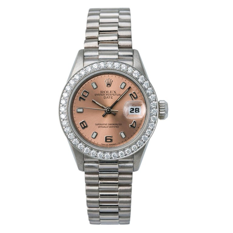 Rolex President 69179 Automatic 18k Solid White Gold Watch Diamond Bezel For Sale