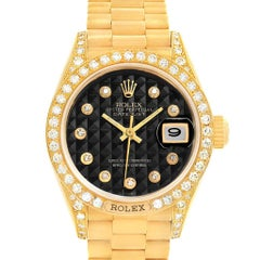 Rolex President Crown Yellow Gold Black Diamond Dial Ladies Watch 69158